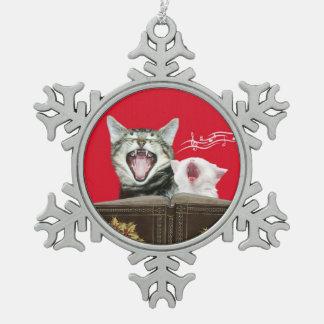 Caroling kitty cats snowflake pewter christmas ornament