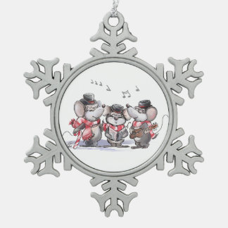 Caroling Mic, Mac & Moe Pewter Snowflake Ornament
