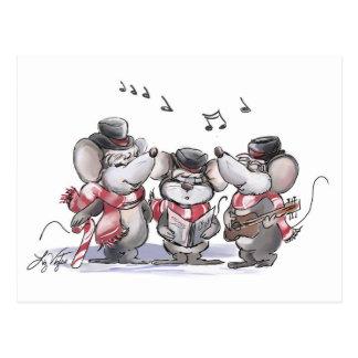 Caroling Mic, Mac & Moe Postcard