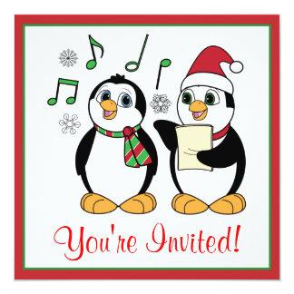 Caroling Penguins Christmas Party Invitation