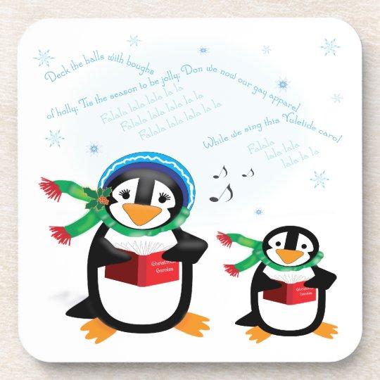 Caroling Penguins Cork Coaster