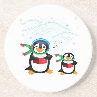 Caroling Penguins - Deck the Halls Coaster