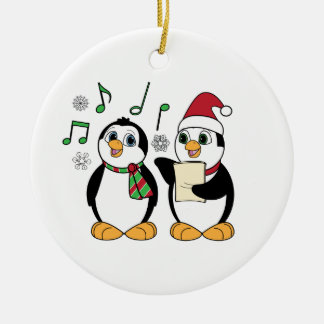 Caroling Penguins in the Snow Double-Sided Ceramic Round Christmas Ornament