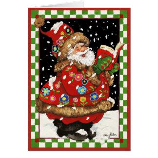 Caroling Santa Tarjeta De Felicitación