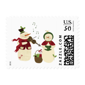 Caroling Snowman and Snow Woman Holiday Postage