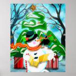 Caroling Snowman Wall/Door/Window Poster