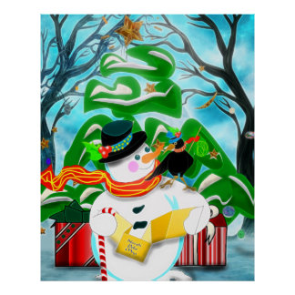 Caroling Snowman Wall/Door/Window Poster