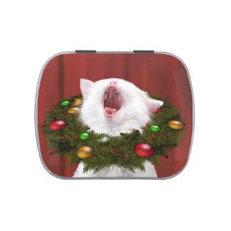 Caroling white kitten jelly belly tins