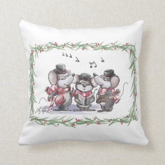 Caroling With Mic, Mac And Moe Holiday Pillow