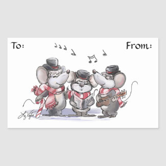 Caroling with Mic, Mac & Moe Gift Tag Stickers