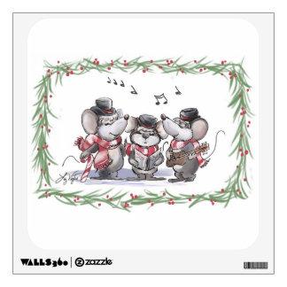 Caroling with Mic, Mac & Moe Holiday Wall Decal