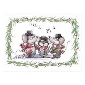 Caroling with Mic, Mac & Moe Postcard
