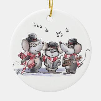 Caroling with Mic, Mac & Moe Round Ornament