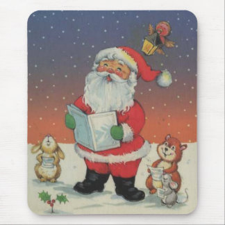 Carolling santa with baby animals mouse pad