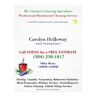 Carolyn Holloway Sample Flyer-Cleaning Services