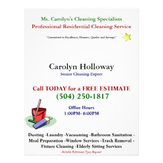 Carolyn Holloway Sample Flyer-Cleaning Services Flyer