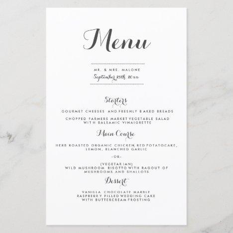 Carolyna Wedding Dinner Menu