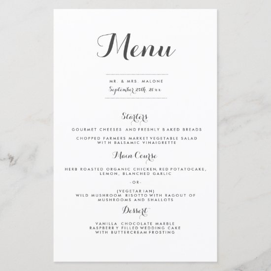 Carolyna Wedding Dinner Menu