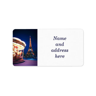 Carousel and Eiffel tower in Paris Label