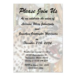 Carousel animal jaguar head image custom invites