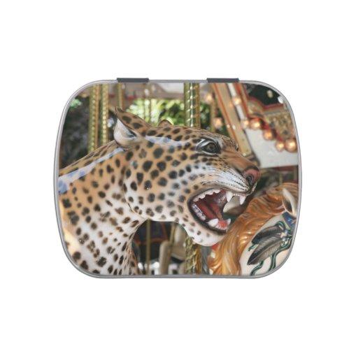 Carousel animal jaguar head image jelly belly tin