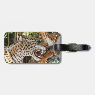Carousel animal jaguar head image luggage tag