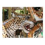 Carousel animal jaguar head image postcard