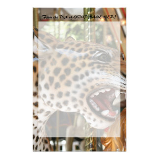 Carousel animal jaguar head image stationery