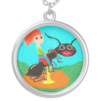 Carousel Ant Round Pendant Necklace