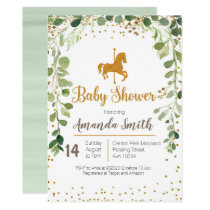 Carousel Baby Shower invitation Greenery