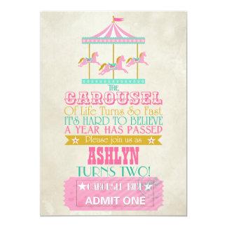 Carousel Birthday 5x7 Paper Invitation Card