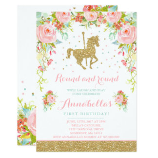 Carousel Birthday Invitation Floral Pink Mint Gold