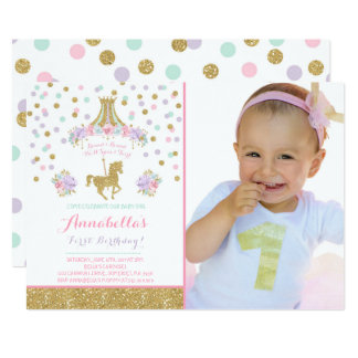 Carousel Party Invitations Announcements Zazzle