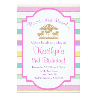 Carousel Birthday Invitation Girl Pink Glitter