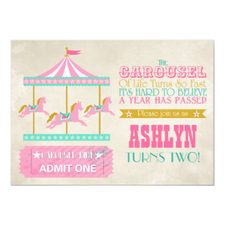 Carousel Birthday Party 5x7 Paper Invitation Card
