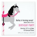 "Carousel Birthday Party Invitation 5.25"" Square Invitation Card"