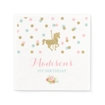 Carousel Birthday Party Napkin Pink Gold Carousel