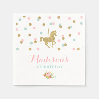 Carousel Birthday Party Napkin Pink Gold Carousel