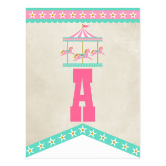 Carousel Birthday Party Pennant Bunting Postcard