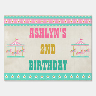 Carousel Birthday Party Yard Signs