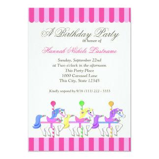 "Carousel Birthday Pink 5"" X 7"" Invitation Card"