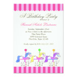 Carousel Birthday Pink 5x7 Paper Invitation Card