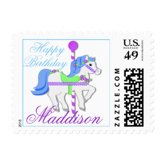 Carousel Birthday Postage Stamp