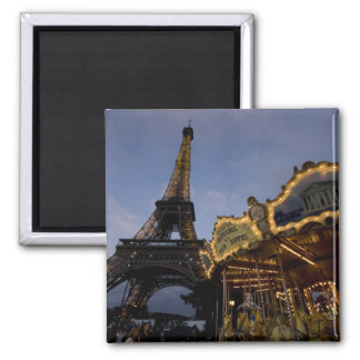 Carousel by the Eiffel Tower in the evening, Refrigerator Magnet