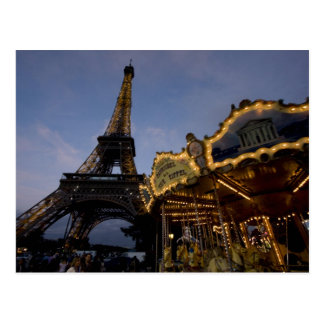 Carousel by the Eiffel Tower in the evening, Postcard
