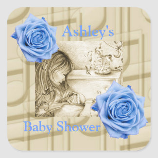 Carousel Dreams Blue Roses & Music Square Stickers