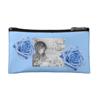 Carousel Dreams Blue Roses Small Cosmetic Bag
