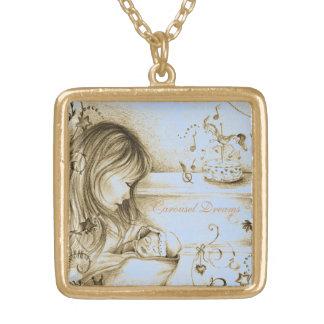 Carousel Dreams Blue Vintage Gold Square Necklace
