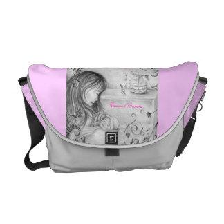 Carousel Dreams Grey & Pink Rickshaw Messenger Bag