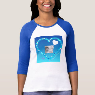Carousel Dreams Heart Raglan T-Shirt Blue andWhite